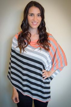 NEW ITEM - Infinity Nursing Shawl Scarf - Heather Grey and Coral MultiStripe. Full Coverage. Nursing Cover