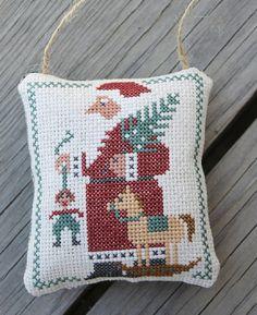 Completed Cross Stitch Primitive Santa Door Hanger by Stitchcrafts, $16.00