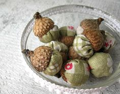 Acorn Lavender Sachets - Scented Woodland Decor -  Table decorations, Bowl Fillers, Wedding, Favors -  Set of 10. $10.00, via Etsy.