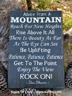 Advice From A Mountain Sign Wall Art Plaque Mountains House Decor Signs Painted Rustic Wood Plaque Poem Inspirational Gifts