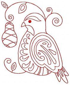 Ornamental 12 Days of Christmas 12 Redwork Machine Embroidery Design 2 Sizes CD | eBay