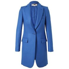 STELLA MCCARTNEY Tailored Wool Crombie Coat (42.925 RUB) ❤ liked on Polyvore featuring outerwear, coats, jackets, blue, coats & jackets, blue coat, long sleeve coat, blue wool coat, wool coat and woolen coat
