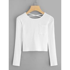 SheIn(sheinside) Criss Cross Back Ribbed Knit Tee (€11) ❤ liked on Polyvore featuring tops, t-shirts, white, long sleeve pocket t shirts, pocket tees, long sleeve t shirts, white pocket tee and white t shirt