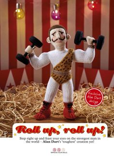 Strongman Pattern by Alan Dart in Simply Knitting Magazine Issue 159 Simply Knitting, Free Knitting, Knitting Patterns, Crochet Patterns, Crochet Animals, Crochet Toys, Circus Strongman, Alan Dart, Handmade Soft Toys