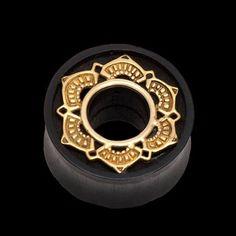Ebony Inlay Lotus Plug with Brass by Tawapa size 1 inch