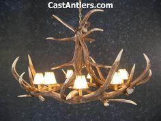 Antler Chandeliers - Elk 6 Cast Antler Chandelier w/ Rawhide Shades | Rustic…