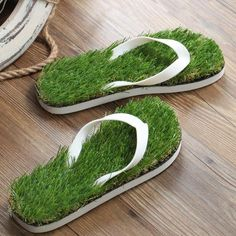Grass Flip Flops. Get the feeling of walking barefoot on grass. Anywhere. Anytime  Stepping on the green, green grass would definitely feel so refreshing and invigorating. Get the summer feels with this green and grassy flip-flops. It's a rubber slip-on adorn with synthetic grass to give that refreshing feeling. Heading to the beach? You can absolutely bring a pair with you!