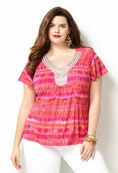 Embellished Blurred Ikat Top $33.60 the avenue