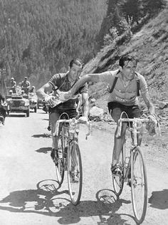 Bartali e Coppi - It seemed like a simple symbol of brotherhood and sportsmanship, and it is. In Italy, it became an iconic image. It showed Coppi (right) holding a water bottle and reaching back to Bartali during the climb of the Col de l'Iseran.