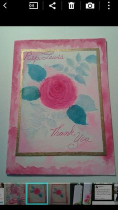 Hampton Arts rose stamp. Watercolors are Artists Loft watercolor cakes from Michaels.