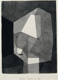 Paul Klee, Rough-Cut Head, 1935.  Ink wash and graphite on paper mounted on cardboard.