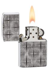 Armor High Polished Chrome Zippo Lighter This High Polish Chrome Armor™ model is deep carved with a unique textured design that looks a little different to each person who sees it. Is it a star pattern? Animal skin? Disco ball? You be the judge.