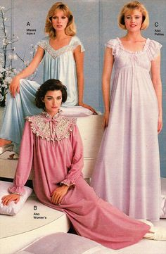 Frilly Nightgowns to Garfield Pajamas: Women's Sleepwear Catalog Pages We're not talking about slinky lingerie; we're looking at sleepwear: nightgowns, polyester chemises, and long t-shirts with cartoon animals on them. Decades Fashion, 70s Fashion, Vintage Fashion, Vintage Nightgown, Vintage Dresses, Vintage Outfits, Sleepwear Women, Women's Sleepwear, Loungewear