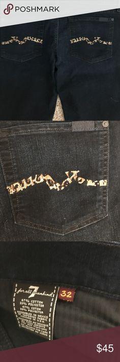 7FAMK JEANS SIZE 32 NWOT 7FAMK dark wash boot cut jeans. Super cute leopard pocket with rhinestones 7 For All Mankind Jeans Boot Cut