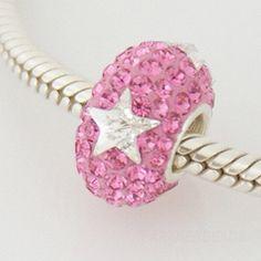 15d92143c Pink White Stars Swarovski Crystal Charm Bead - Genuine 925 Sterling Silver  Core - fits most European bracelets including Pandora, Biagi and Chamilia