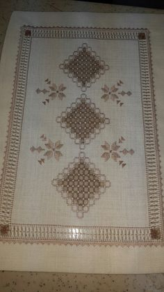 Mary Juette's media content and analytics Hardanger Embroidery, Lace Embroidery, Cross Stitch Embroidery, Embroidery Designs, Bargello, Drawn Thread, Christmas Embroidery, Blackwork, Primitive