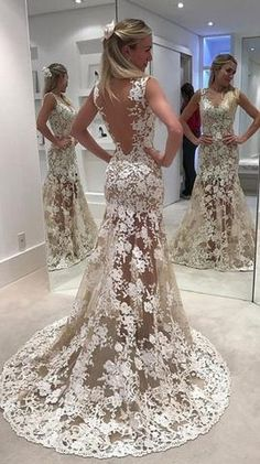 f78cbcc6103 Elegant Lace Sheer Ivory V-Neck Appliques Sleeveless Mermaid Backless  Wedding Dresses uk PH307