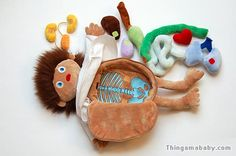 Funny toys - Behold Erwin the little patient from Sigikid. He's a plush doll with a crooked smile. You can take out his organs. Measuring in at 16-inch (41cm) and machine washable, Erwin hides his special nature under a hospital patient gown. Lift up the gown to see Erwin's nippleless rectangular torso.