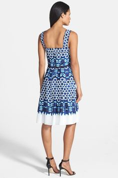 Adrianna Papell Print Crepe de Chine Fit & Flare Dress by Adrianna Papell on @nordstrom_rack
