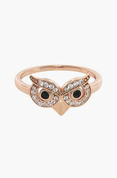 Cubic Zirconia & Rose Gold Owl Ring