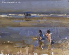 """Daily Paintworks - """"Seascape spring 22 Children playing horse passes by (on hold)"""" - Original Fine Art for Sale - © Roos Schuring"""