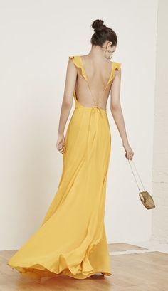 A frilly yellow dress.