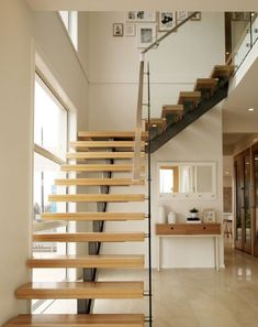 modern glass railing stairs design L shaped staircase Wooden Staircase Design, Home Stairs Design, Painted Staircases, Floating Staircase, Staircase Railings, Painted Stairs, Railing Design, Interior Stairs, House Design