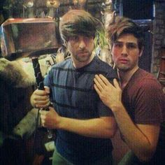 Ian Hecox and Anthony Padilla recreating the Thor movie poster