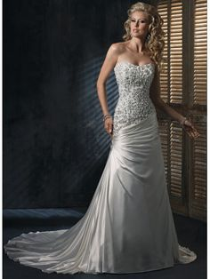 Monroe Satin Strapless Scoop Neckline A-line Wedding Dress