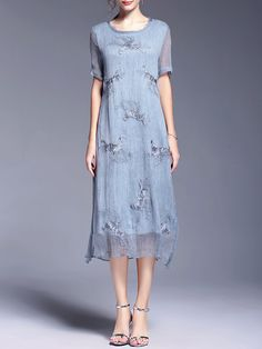 Shop Midi Dresses - Blue Shift Short Sleeve Silk Midi Dress online. Discover…