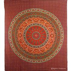 Maroon Round Mandala Elephant Hippie Boho Tie Dye Tapestry Wall Hanging Bedspread