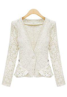 Lace Peplum Blazer - White