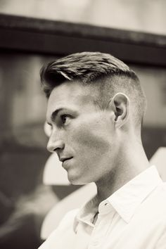 "Men's hair. Great profile.  ""Thomas came by the studio recently to model for Of a Kind and I could not get over his most recent hair cut. It reminded me of a photo series Norman Parkinson did of Montgomery Clift… and I was obsessed."""