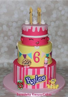 Birthday cake made for my niece's 6th birthday. Shopkins characters are Kooky Cookie, Millie Shake, and Strawberry Kiss, all hand modeled from fondant. Top tier cake is Shopkins character Wishes in pink. To make her birthday cake complete we also...