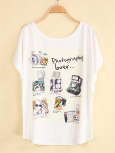 Camiseta suelta cámara manga corta-blanco