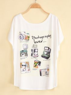 White Short Sleeve Camera Print Loose T-Shirt pictures