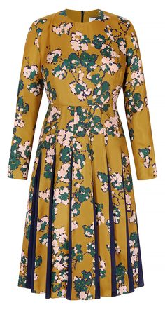 29d26de7618 Hepburn Dress Tuscany Gold Floral Silk Twill
