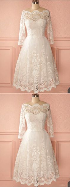Ivory lace prom dress with sleeves #promdress #prom #dress