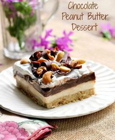 Chocolate Peanut Butter Dessert... a chocolate peanut butter lovers dream!  This is an easy cool delicious summer treat!
