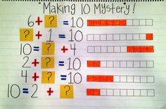 "Freebies!  Help students visually see making ten with this anchor chart.  Use for part part whole, missing addends, friends of ten, and combinations of ten.  Great for kindergarten, first grade, and second grade.  To learn more about ""Making Ten Freebies"", visit www.tunstallsteachingtidbits.com"
