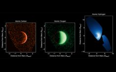 NASA's MAVEN spacecraft orbiting Mars sees a solar-particle storm, gets ultraviolet images of tenuous oxygen, hydrogen and carbon coronas, and yields a map of variable ozone.