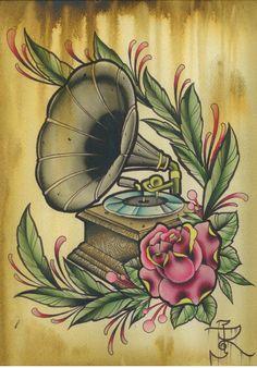 Traditional phonograph for Kim M Tattoos, Tattoo Drawings, Record Player Tattoo, Tatuaje Old School, Music Tattoo Designs, Music Illustration, Tattoo Project, Tattoo Flash Art, Desenho Tattoo