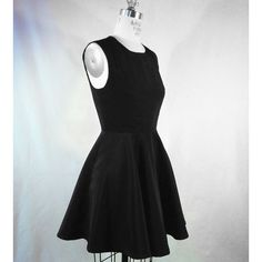 The Kelly King Collective Classic Black Sleeveless Dress ($205) ❤ liked on Polyvore featuring dresses, circle skirt, black circle skirt, retro dress, black flared skirt and black zipper dress