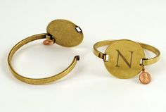 The Spoon Sisters Solid Brass Cuff or Leather Bracelet with Engraved Locker Tag (as seen on Momfilter)