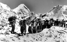 Another great snap by Alf of the porters climbing Mt. Everest.    Courtesy of Alfred Gregory Archive.  Source Photographica.  All rights reserved.