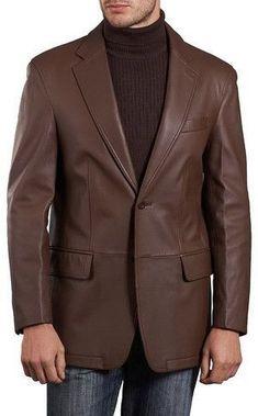 Mens Lambskin Choco Brown Leather Blazer #mensfashion