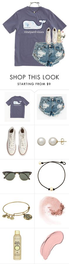 """""""chill, beach"""" by classynsouthern ❤ liked on Polyvore featuring Vineyard Vines, One Teaspoon, Converse, Honora, Ray-Ban, Alex and Ani, NARS Cosmetics, Sun Bum and NYX"""