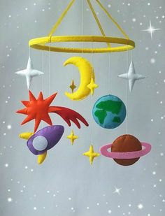 Space baby mobile Nursery mobile Baby Felt crib mobile Cot mobile Hanging crib mobile Boy mobile Girl mobile New baby gift Select your color by ZooToys Baby Crafts, Felt Crafts, Diy And Crafts, Kids Crafts, Crochet Crafts, Boy Mobile, Baby Crib Mobile, Baby Mobiles Diy, Nursery Mobiles
