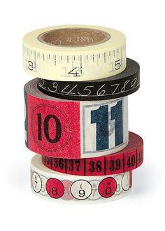 5 rullan setti - Paperiteippi Vintage numerot