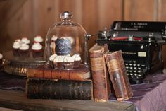 Typewriter on a dessert table.....Why not?  Photography courtesy of Erin Johnson Photography